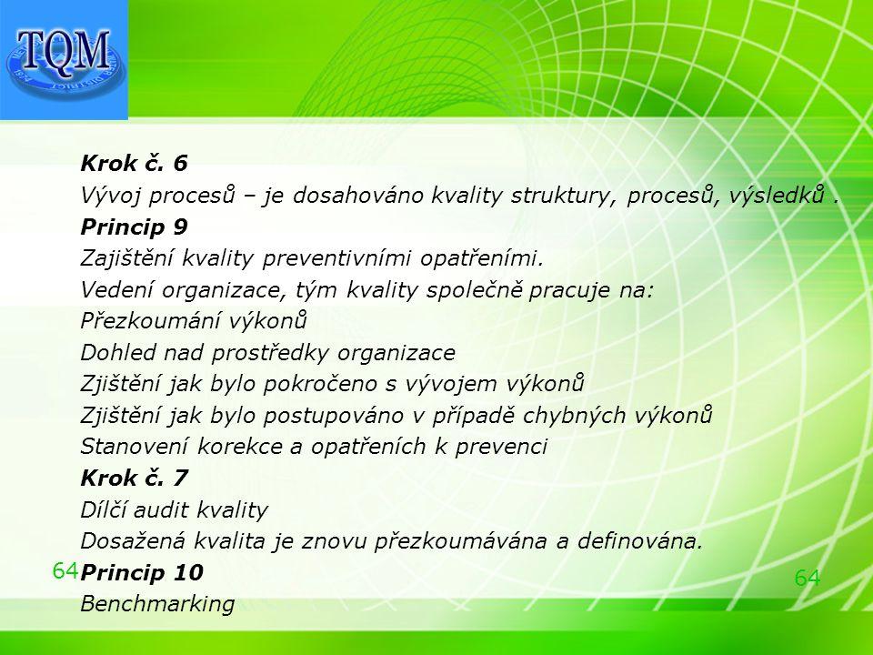 64 Krok č. 6 Vývoj procesů – je dosahováno kvality struktury, procesů, výsledků. Princip 9 Zajištění kvality preventivními opatřeními. Vedení organiza