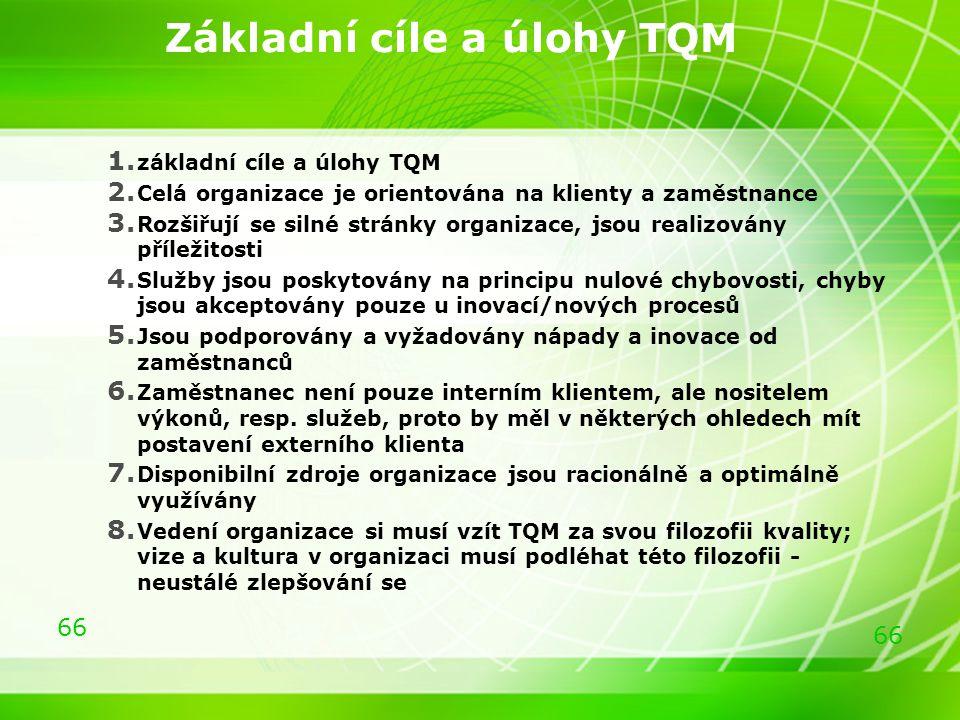 66 Základní cíle a úlohy TQM 1. základní cíle a úlohy TQM 2. Celá organizace je orientována na klienty a zaměstnance 3. Rozšiřují se silné stránky org