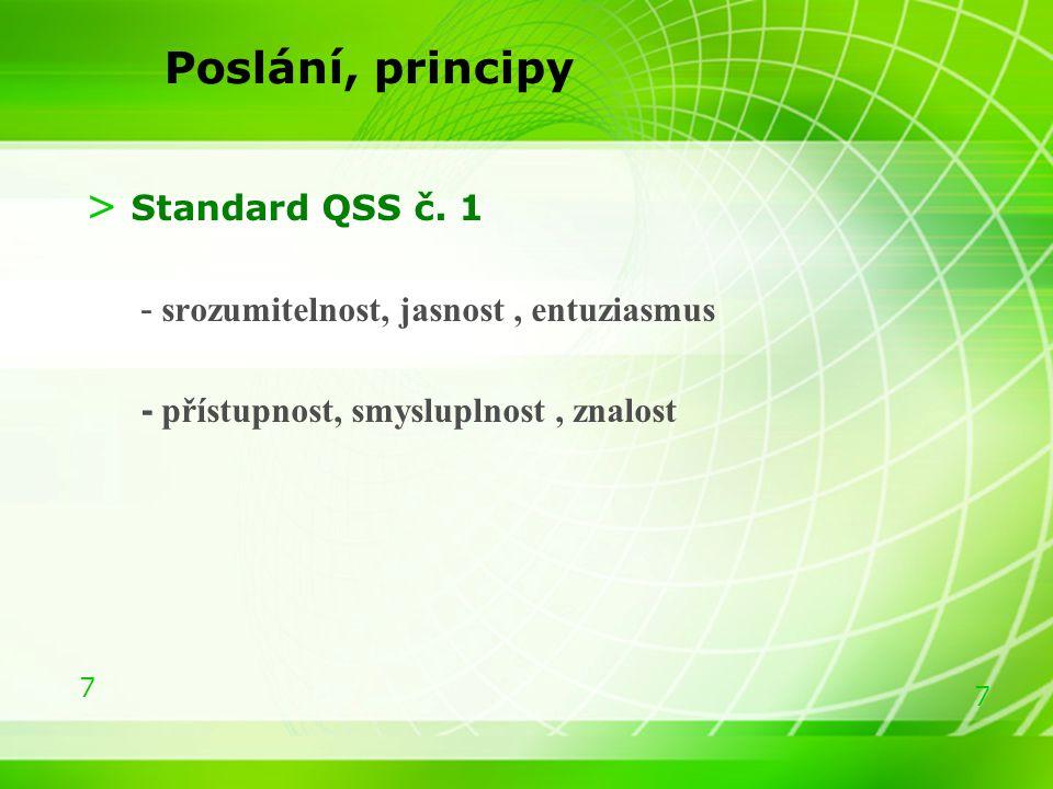 7 7 Poslání, principy > Standard QSS č. 1 - srozumitelnost, jasnost, entuziasmus - přístupnost, smysluplnost, znalost