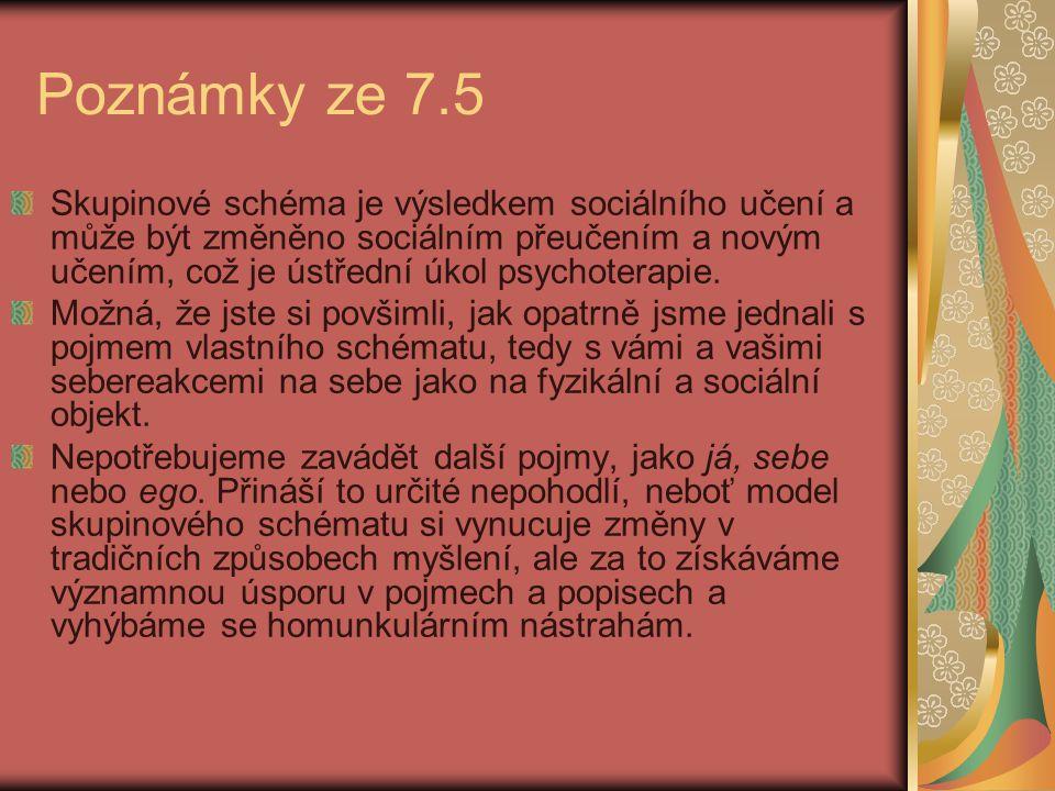 Poznámky ze 7.5 Skupinové schéma je výsledkem sociálního učení a může být změněno sociálním přeučením a novým učením, což je ústřední úkol psychoterap