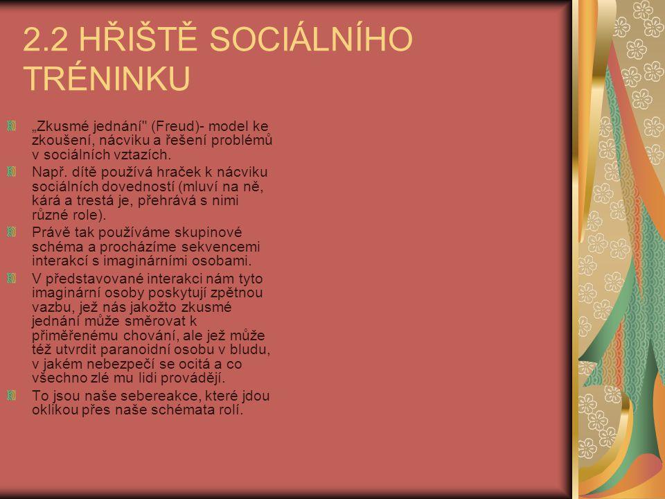 """2.2 HŘIŠTĚ SOCIÁLNÍHO TRÉNINKU """"Zkusmé jednání"""