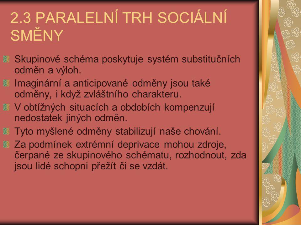 2.3 PARALELNÍ TRH SOCIÁLNÍ SMĚNY Skupinové schéma poskytuje systém substitučních odměn a výloh. Imaginární a anticipované odměny jsou také odměny, i k