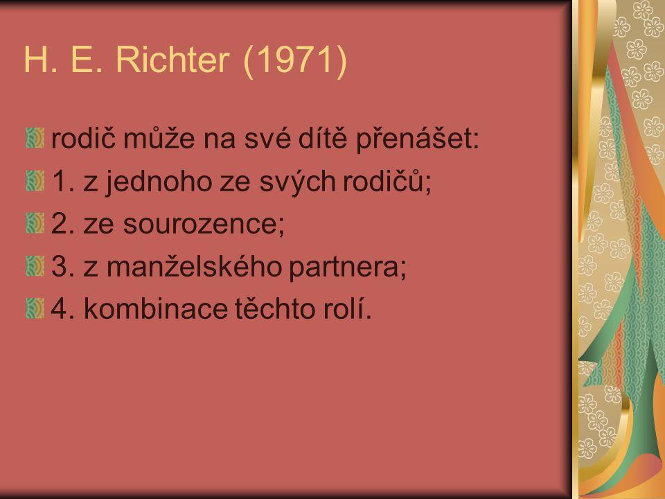H. E. Richter (1971) rodič může na své dítě přenášet: 1. z jednoho ze svých rodičů; 2. ze sourozence; 3. z manželského partnera; 4. kombinace těchto r