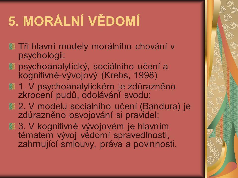 5. MORÁLNÍ VĚDOMÍ Tři hlavní modely morálního chování v psychologii: psychoanalytický, sociálního učení a kognitivně-vývojový (Krebs, 1998) 1. V psych