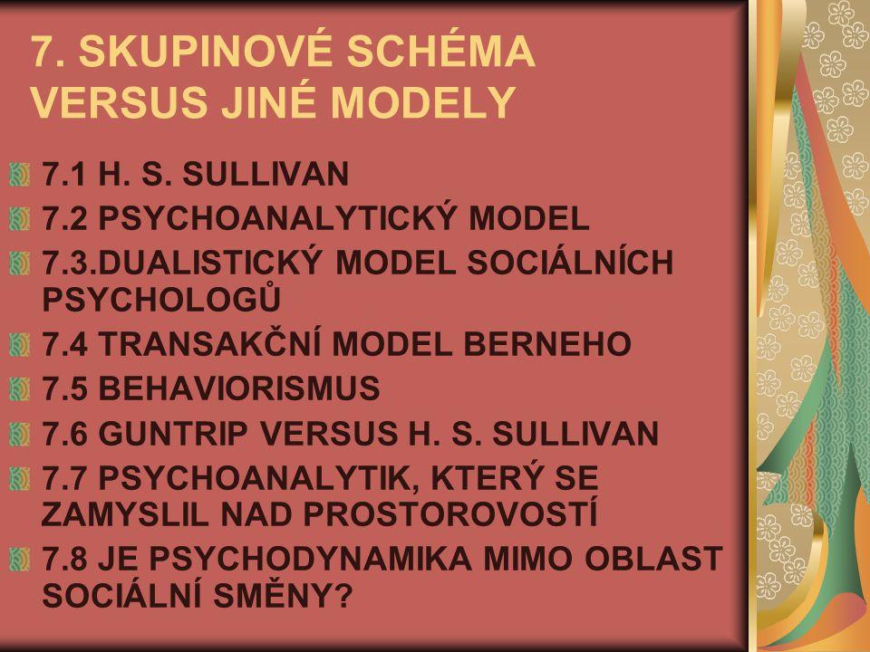 7. SKUPINOVÉ SCHÉMA VERSUS JINÉ MODELY 7.1 H. S. SULLIVAN 7.2 PSYCHOANALYTICKÝ MODEL 7.3.DUALISTICKÝ MODEL SOCIÁLNÍCH PSYCHOLOGŮ 7.4 TRANSAKČNÍ MODEL