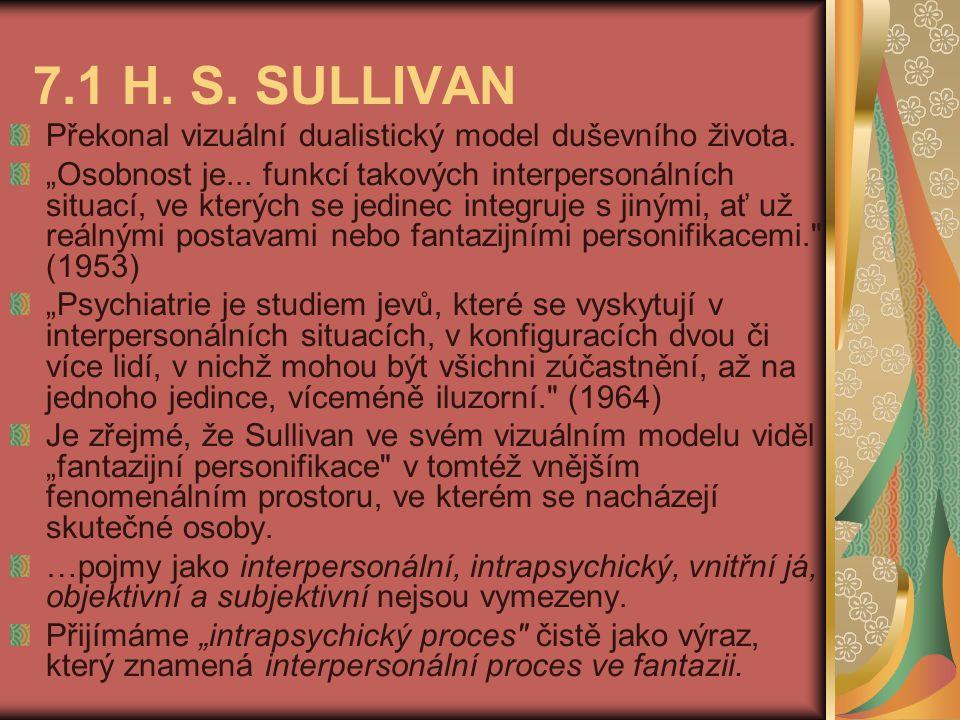 """7.1 H. S. SULLIVAN Překonal vizuální dualistický model duševního života. """"Osobnost je... funkcí takových interpersonálních situací, ve kterých se jedi"""