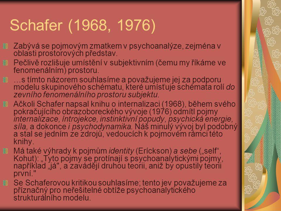 Schafer (1968, 1976) Zabývá se pojmovým zmatkem v psychoanalýze, zejména v oblasti prostorových představ. Pečlivě rozlišuje umístění v subjektivním (č