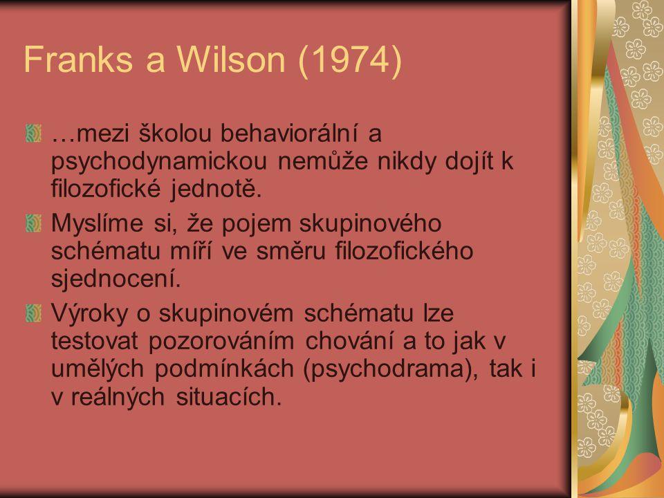 Franks a Wilson (1974) …mezi školou behaviorální a psychodynamickou nemůže nikdy dojít k filozofické jednotě. Myslíme si, že pojem skupinového schémat