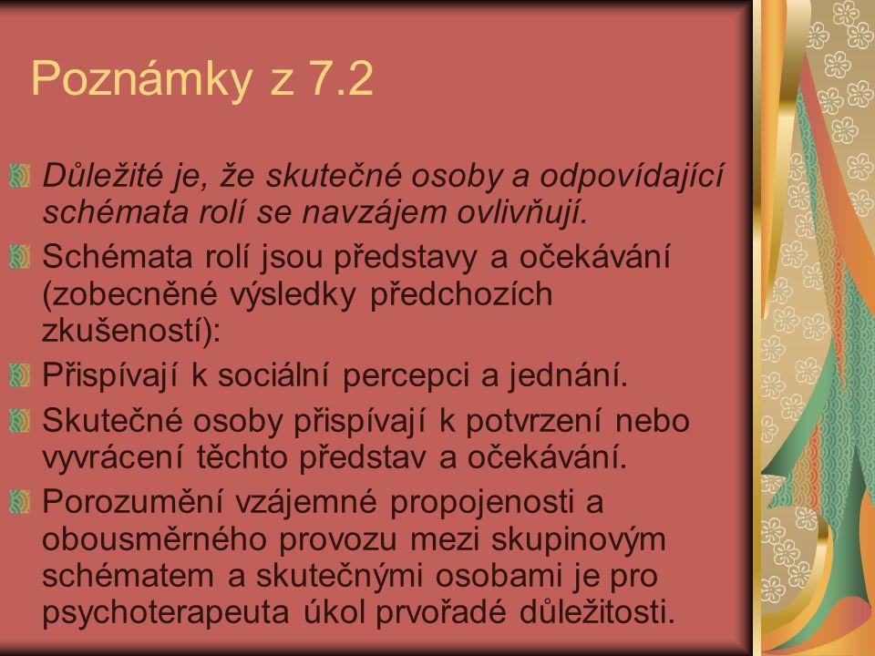 Poznámky z 7.2 Důležité je, že skutečné osoby a odpovídající schémata rolí se navzájem ovlivňují. Schémata rolí jsou představy a očekávání (zobecněné