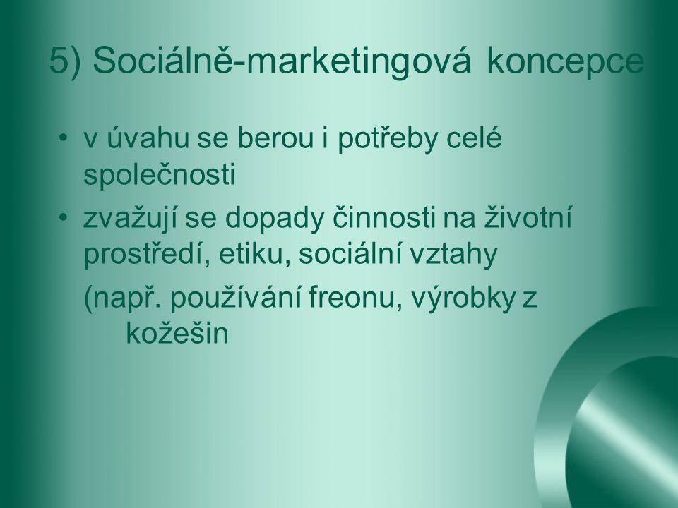 5) Sociálně-marketingová koncepce v úvahu se berou i potřeby celé společnosti zvažují se dopady činnosti na životní prostředí, etiku, sociální vztahy