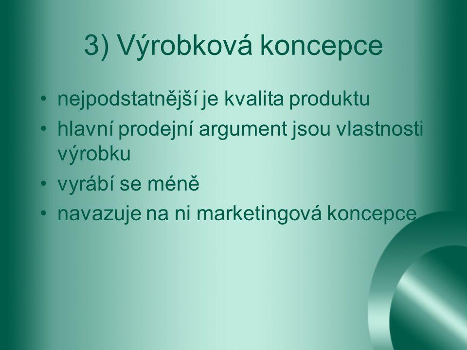 3) Výrobková koncepce nejpodstatnější je kvalita produktu hlavní prodejní argument jsou vlastnosti výrobku vyrábí se méně navazuje na ni marketingová