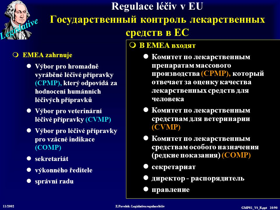 Legislative 11/2002 Z.Pavelek: Legislativa regulace léčiv GMP01_V4_R.ppt 10/90 Regulace léčiv v EU Государственный контроль лекарственных средств в ЕС  EMEA zahrnuje Výbor pro hromadně vyráběné léčivé přípravky (CPMP), který odpovídá za hodnocení humánních léčivých přípravků Výbor pro veterinární léčivé přípravky (CVMP) Výbor pro léčivé přípravky pro vzácné indikace (COMP) sekretariát výkonného ředitele správní radu  В EMEA входят Комитет по лекарственным препаратам массового производства (CPMP), который отвечает за оценку качества лекарственных средств для человека Комитет по лекарственным средствам для ветеринарии (CVMP) Комитет по лекарственным средствам особого назначения (редкие показания) (COMP) секретариат директор - распорядитель правление