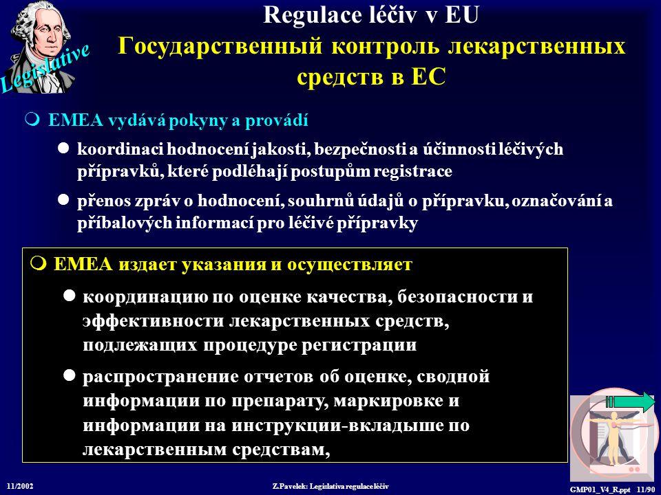 Legislative 11/2002 Z.Pavelek: Legislativa regulace léčiv GMP01_V4_R.ppt 11/90 Regulace léčiv v EU Государственный контроль лекарственных средств в ЕС  EMEA vydává pokyny a provádí koordinaci hodnocení jakosti, bezpečnosti a účinnosti léčivých přípravků, které podléhají postupům registrace přenos zpráv o hodnocení, souhrnů údajů o přípravku, označování a příbalových informací pro léčivé přípravky  EMEA издает указания и осуществляет координацию по оценке качества, безопасности и эффективности лекарственных средств, подлежащих процедуре регистрации распространение отчетов об оценке, сводной информации по препарату, маркировке и информации на инструкции-вкладыше по лекарственным средствам,