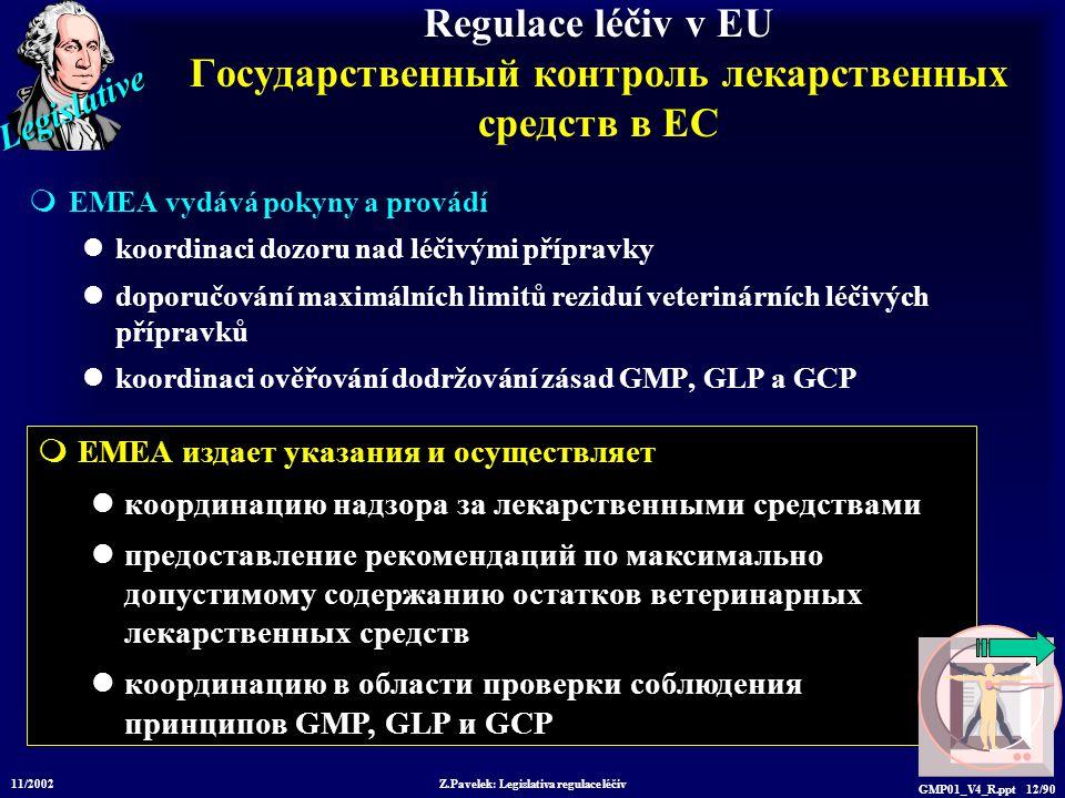 Legislative 11/2002 Z.Pavelek: Legislativa regulace léčiv GMP01_V4_R.ppt 12/90  EMEA издает указания и осуществляет координацию надзора за лекарственными средствами предоставление рекомендаций по максимально допустимому содержанию остатков ветеринарных лекарственных средств координацию в области проверки соблюдения принципов GMP, GLP и GCP Regulace léčiv v EU Государственный контроль лекарственных средств в ЕС  EMEA vydává pokyny a provádí koordinaci dozoru nad léčivými přípravky doporučování maximálních limitů reziduí veterinárních léčivých přípravků koordinaci ověřování dodržování zásad GMP, GLP a GCP
