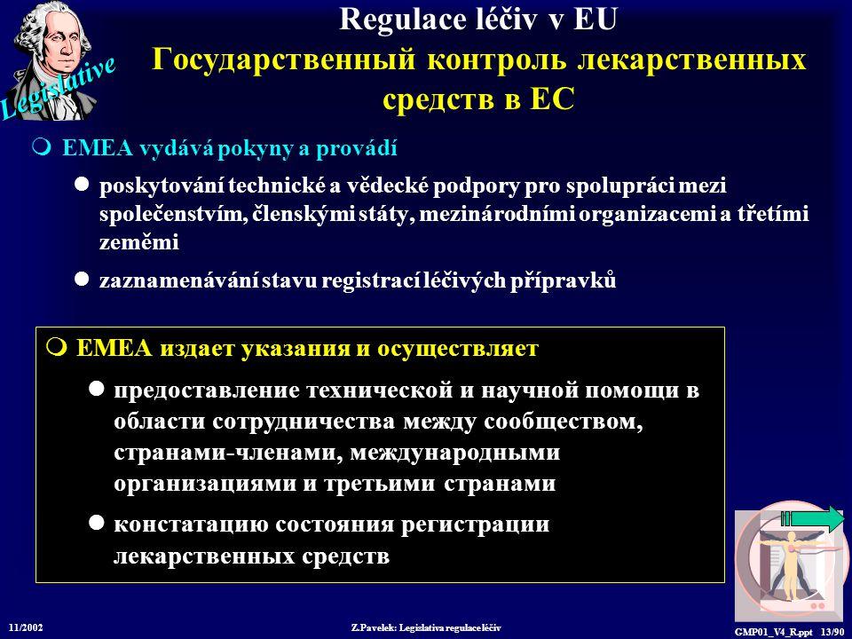 Legislative 11/2002 Z.Pavelek: Legislativa regulace léčiv GMP01_V4_R.ppt 13/90  EMEA издает указания и осуществляет предоставление технической и научной помощи в области сотрудничества между сообществом, странами-членами, международными организациями и третьими странами констатацию состояния регистрации лекарственных средств Regulace léčiv v EU Государственный контроль лекарственных средств в ЕС  EMEA vydává pokyny a provádí poskytování technické a vědecké podpory pro spolupráci mezi společenstvím, členskými státy, mezinárodními organizacemi a třetími zeměmi zaznamenávání stavu registrací léčivých přípravků