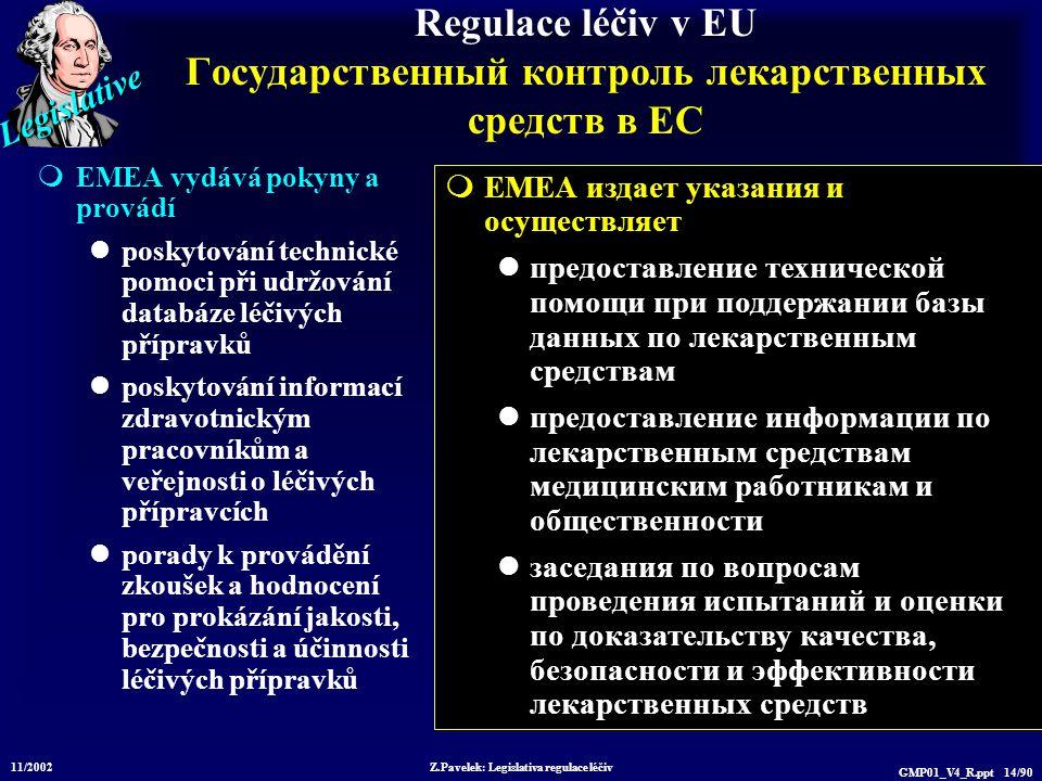 Legislative 11/2002 Z.Pavelek: Legislativa regulace léčiv GMP01_V4_R.ppt 14/90 Regulace léčiv v EU Государственный контроль лекарственных средств в ЕС  EMEA vydává pokyny a provádí poskytování technické pomoci při udržování databáze léčivých přípravků poskytování informací zdravotnickým pracovníkům a veřejnosti o léčivých přípravcích porady k provádění zkoušek a hodnocení pro prokázání jakosti, bezpečnosti a účinnosti léčivých přípravků  EMEA издает указания и осуществляет предоставление технической помощи при поддержании базы данных по лекарственным средствам предоставление информации по лекарственным средствам медицинским работникам и общественности заседания по вопросам проведения испытаний и оценки по доказательству качества, безопасности и эффективности лекарственных средств