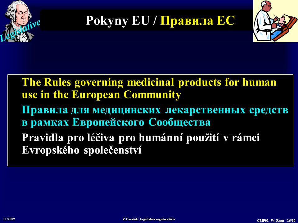 Legislative 11/2002 Z.Pavelek: Legislativa regulace léčiv GMP01_V4_R.ppt 16/90 Pokyny EU / Пр авила ЕС The Rules governing medicinal products for huma