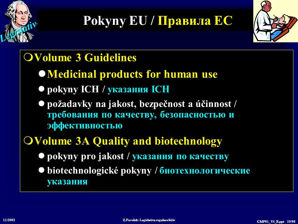 Legislative 11/2002 Z.Pavelek: Legislativa regulace léčiv GMP01_V4_R.ppt 19/90 Pokyny EU / Пр авила ЕС  Volume 3 Guidelines Medicinal products for hu