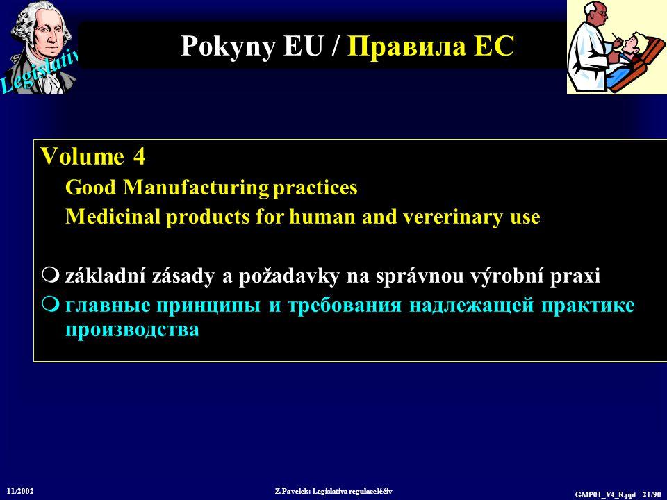 Legislative 11/2002 Z.Pavelek: Legislativa regulace léčiv GMP01_V4_R.ppt 21/90 Pokyny EU / Пр авила ЕС Volume 4 Good Manufacturing practices Medicinal
