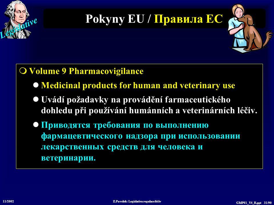 Legislative 11/2002 Z.Pavelek: Legislativa regulace léčiv GMP01_V4_R.ppt 31/90 Pokyny EU / Пр авила ЕС  Volume 9 Pharmacovigilance Medicinal products