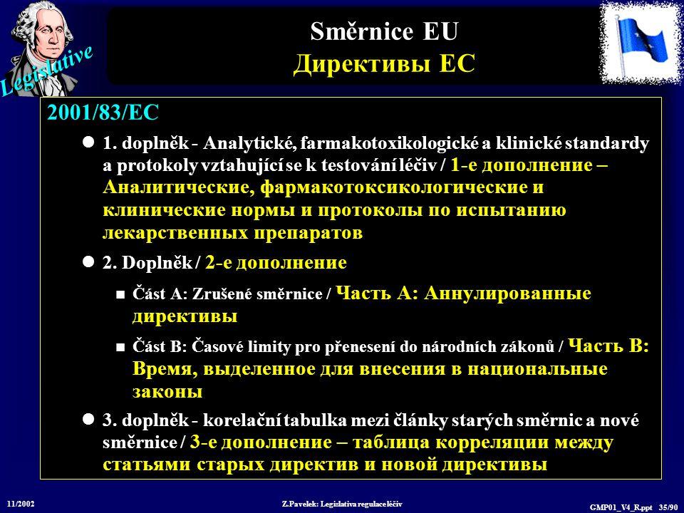 Legislative 11/2002 Z.Pavelek: Legislativa regulace léčiv GMP01_V4_R.ppt 35/90 Směrnice EU Директивы ЕС 2001/83/EC 1. doplněk - Analytické, farmakotox