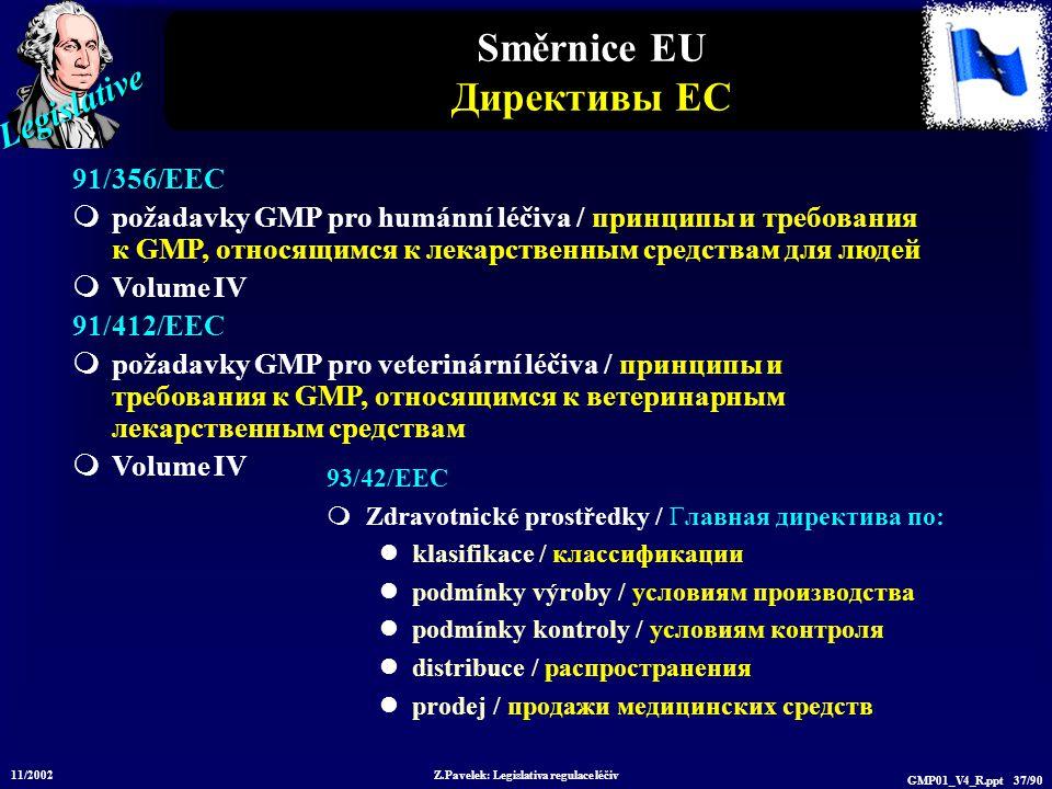Legislative 11/2002 Z.Pavelek: Legislativa regulace léčiv GMP01_V4_R.ppt 37/90 Směrnice EU Директивы ЕС 93/42/EEC  Zdravotnické prostředky / Главная