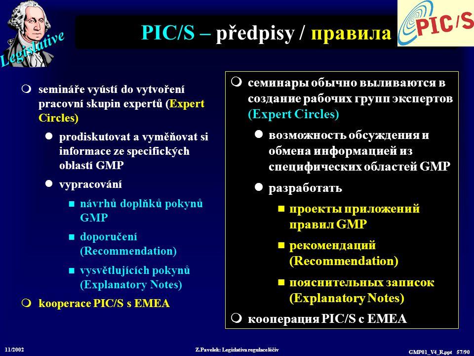 Legislative 11/2002 Z.Pavelek: Legislativa regulace léčiv GMP01_V4_R.ppt 57/90 PIC/S – předpisy / правила  semináře vyústí do vytvoření pracovní skupin expertů (Expert Circles) prodiskutovat a vyměňovat si informace ze specifických oblastí GMP vypracování návrhů doplňků pokynů GMP doporučení (Recommendation) vysvětlujících pokynů (Explanatory Notes)  kooperace PIC/S s EMEA  семинары обычно выливаются в создание рабочих групп экспертов (Expert Circles) возможность обсуждения и обмена информацией из специфических областей GMP разработать проекты приложений правил GMP рекомендаций (Recommendation) пояснительных записок (Explanatory Notes)  кооперация PIC/S с EMEA