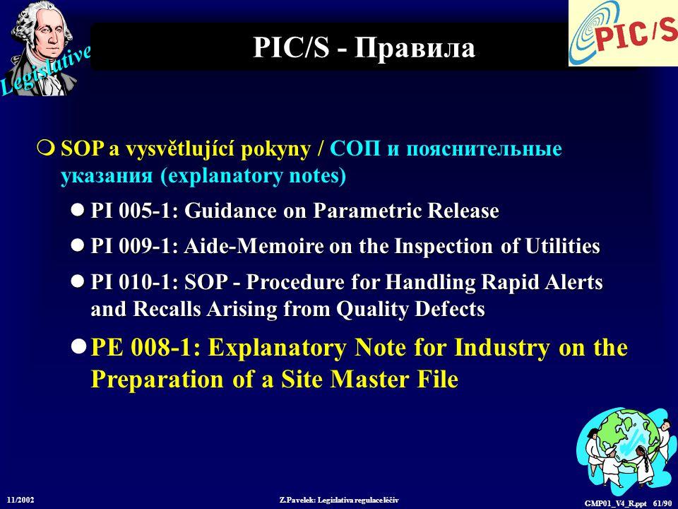 Legislative 11/2002 Z.Pavelek: Legislativa regulace léčiv GMP01_V4_R.ppt 61/90 PIC/S - Правила  SOP a vysvětlující pokyny / СОП и пояснительные указания (explanatory notes) PI 005-1: Guidance on Parametric Release PI 005-1: Guidance on Parametric Release PI 009-1: Aide-Memoire on the Inspection of Utilities PI 009-1: Aide-Memoire on the Inspection of Utilities PI 010-1: SOP - Procedure for Handling Rapid Alerts and Recalls Arising from Quality Defects PI 010-1: SOP - Procedure for Handling Rapid Alerts and Recalls Arising from Quality Defects PE 008-1: Explanatory Note for Industry on the Preparation of a Site Master File
