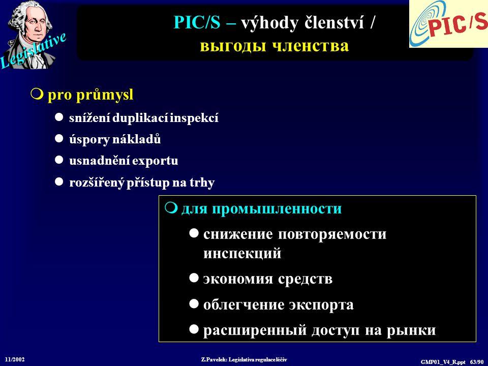 Legislative 11/2002 Z.Pavelek: Legislativa regulace léčiv GMP01_V4_R.ppt 63/90 PIC/S – výhody členství / выгоды членства  pro průmysl snížení duplika