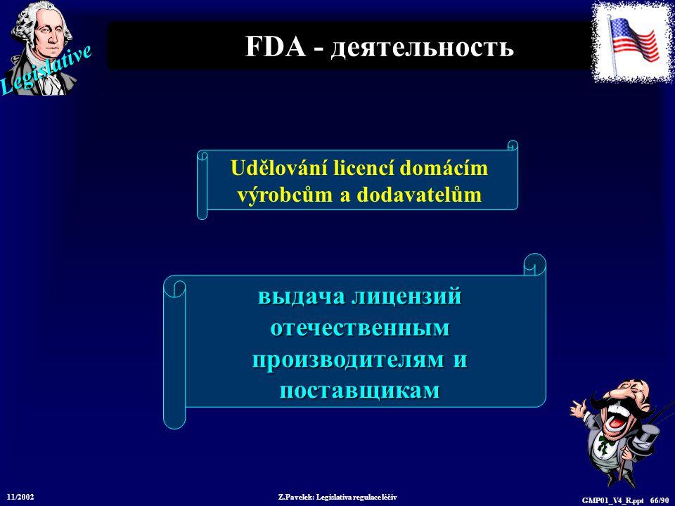 Legislative 11/2002 Z.Pavelek: Legislativa regulace léčiv GMP01_V4_R.ppt 66/90 FDA - деятельность выдача лицензий отечественным производителям и поста