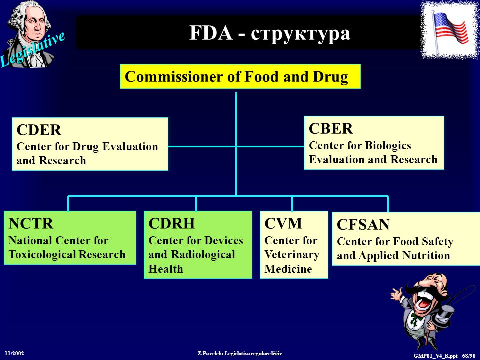 Legislative 11/2002 Z.Pavelek: Legislativa regulace léčiv GMP01_V4_R.ppt 68/90 FDA - структура Commissioner of Food and Drug CDER Center for Drug Evaluation and Research CBER Center for Biologics Evaluation and Research CFSAN Center for Food Safety and Applied Nutrition NCTR National Center for Toxicological Research CDRH Center for Devices and Radiological Health CVM Center for Veterinary Medicine