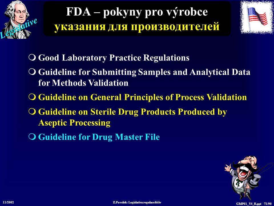 Legislative 11/2002 Z.Pavelek: Legislativa regulace léčiv GMP01_V4_R.ppt 71/90 FDA – pokyny pro výrobce указания для производителей  Good Laboratory