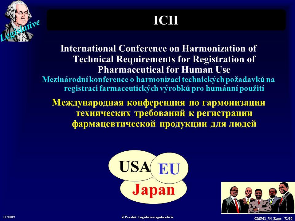 Legislative 11/2002 Z.Pavelek: Legislativa regulace léčiv GMP01_V4_R.ppt 72/90 Japan ICH International Conference on Harmonization of Technical Requir