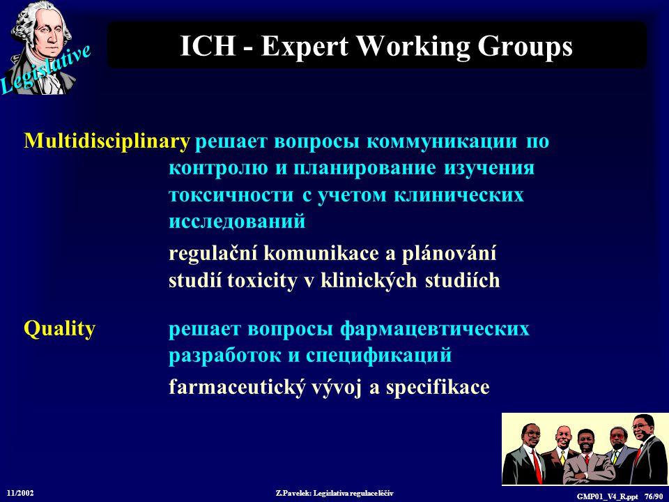 Legislative 11/2002 Z.Pavelek: Legislativa regulace léčiv GMP01_V4_R.ppt 76/90 ICH - Expert Working Groups Multidisciplinary решает вопросы коммуникац