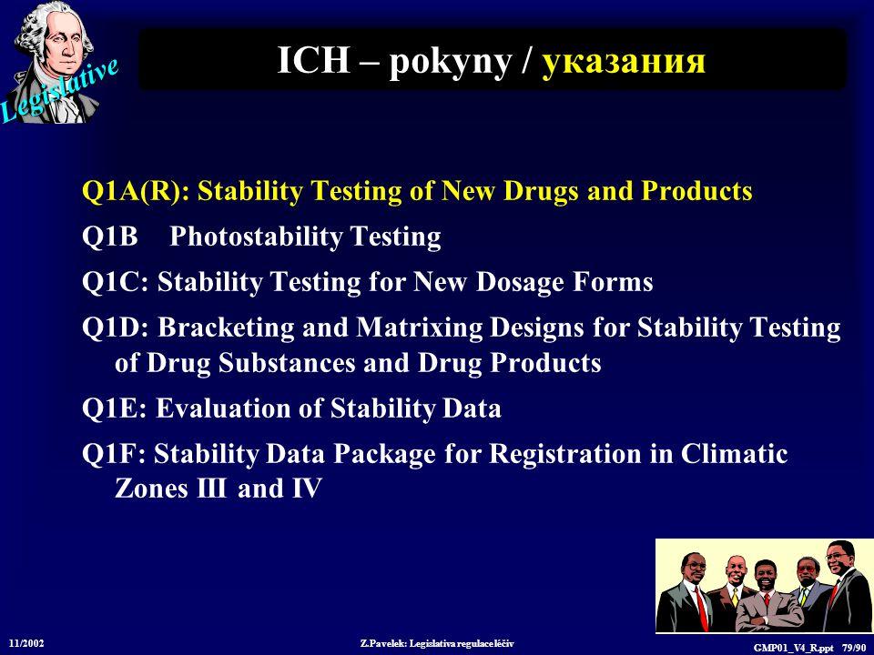 Legislative 11/2002 Z.Pavelek: Legislativa regulace léčiv GMP01_V4_R.ppt 79/90 ICH – pokyny / у казания Q1A(R): Stability Testing of New Drugs and Pro