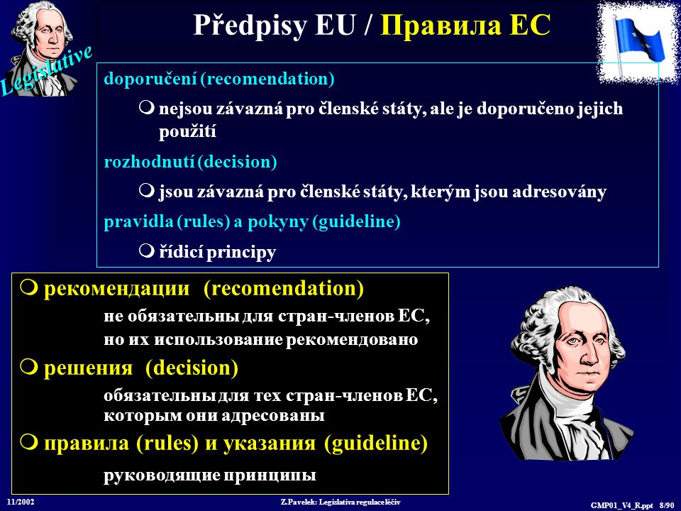 Legislative 11/2002 Z.Pavelek: Legislativa regulace léčiv GMP01_V4_R.ppt 79/90 ICH – pokyny / у казания Q1A(R): Stability Testing of New Drugs and Products Q1B Photostability Testing Q1C: Stability Testing for New Dosage Forms Q1D: Bracketing and Matrixing Designs for Stability Testing of Drug Substances and Drug Products Q1E: Evaluation of Stability Data Q1F: Stability Data Package for Registration in Climatic Zones III and IV