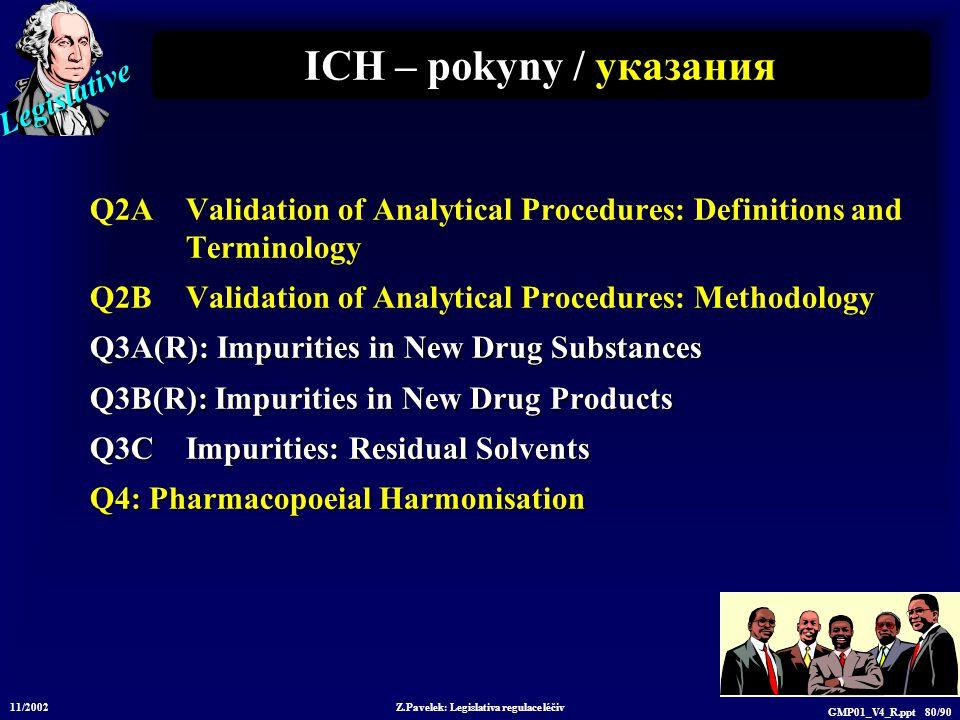 Legislative 11/2002 Z.Pavelek: Legislativa regulace léčiv GMP01_V4_R.ppt 80/90 ICH – pokyny / у казания Q2A Validation of Analytical Procedures: Defin