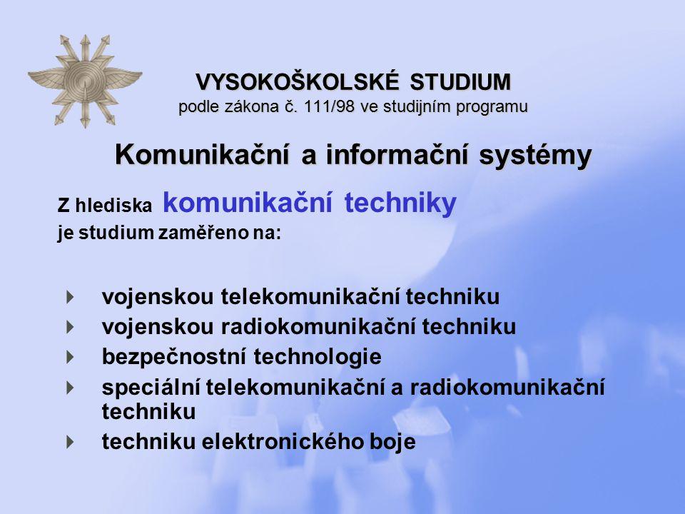 Z hlediska výpočetní techniky a informatiky je studium zaměřeno na:  programovací prostředky  operační systémy, počítačové sítě a bezpečnost informačních systémů  informační systémy  počítačové modelování a technické vybavení číslicových počítačů VYSOKOŠKOLSKÉ STUDIUM podle zákona č.