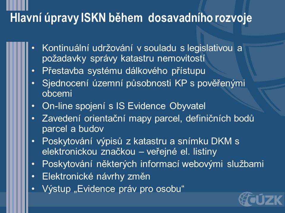 Hlavní úpravy ISKN během dosavadního rozvoje Kontinuální udržování v souladu s legislativou a požadavky správy katastru nemovitostí Přestavba systému