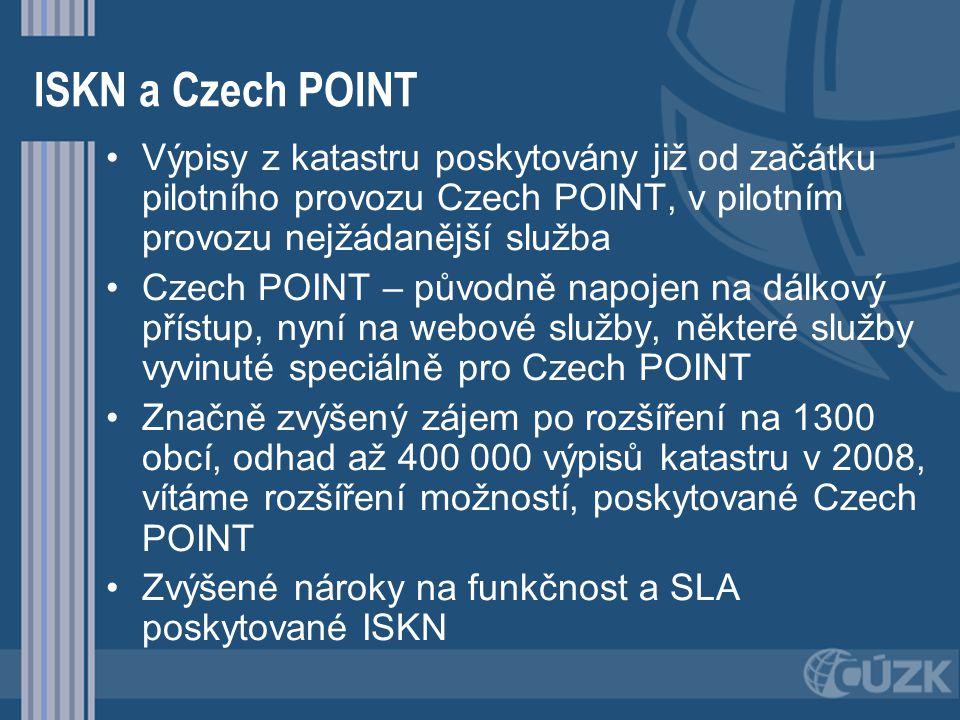 ISKN a Czech POINT Výpisy z katastru poskytovány již od začátku pilotního provozu Czech POINT, v pilotním provozu nejžádanější služba Czech POINT – pů