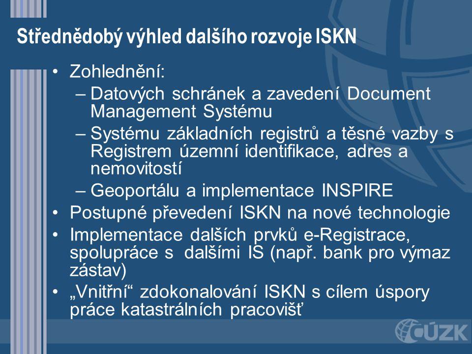 Střednědobý výhled dalšího rozvoje ISKN Zohlednění: – –Datových schránek a zavedení Document Management Systému – –Systému základních registrů a těsné