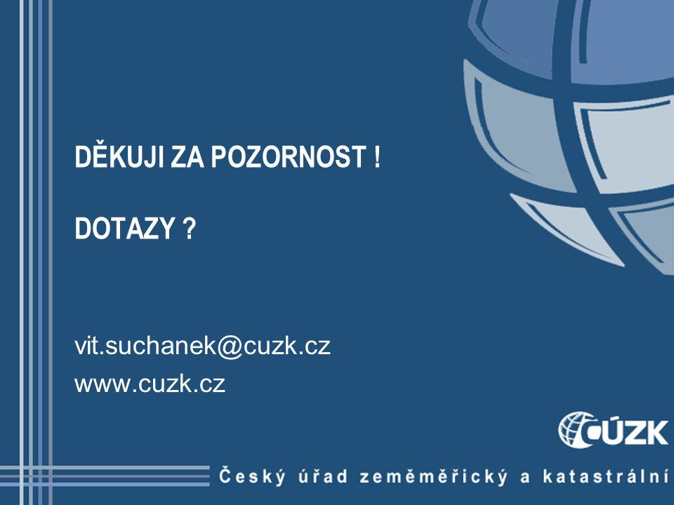 DĚKUJI ZA POZORNOST ! DOTAZY ? vit.suchanek@cuzk.cz www.cuzk.cz