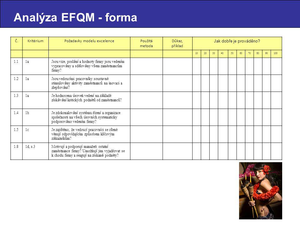 Č.KritériumPožadavky modelu excelencePoužitá metoda Důkaz, příklad Jak dobře je prováděno.