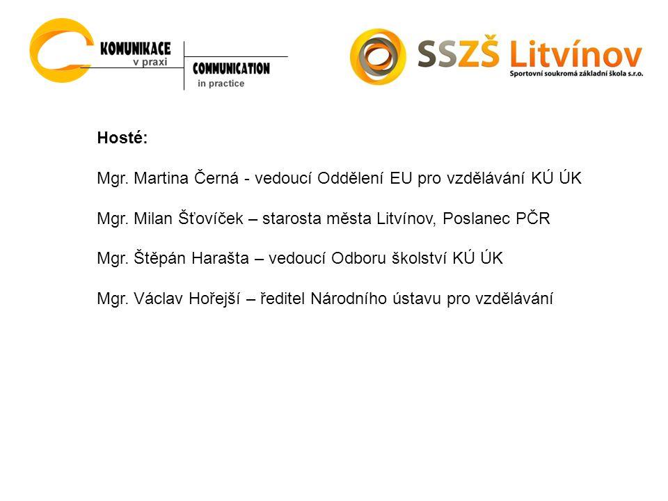 Hosté: Mgr. Martina Černá - vedoucí Oddělení EU pro vzdělávání KÚ ÚK Mgr.