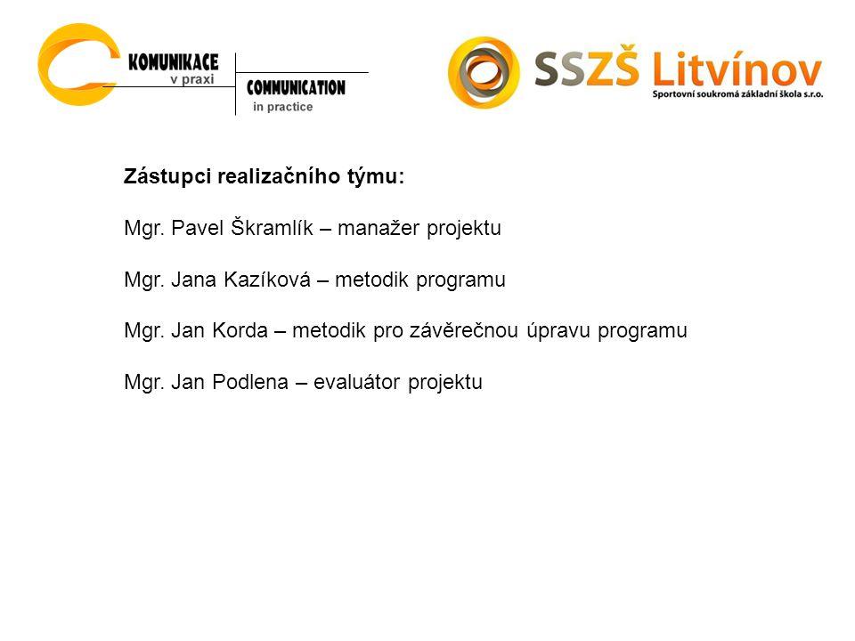 Zástupci realizačního týmu: Mgr. Pavel Škramlík – manažer projektu Mgr.