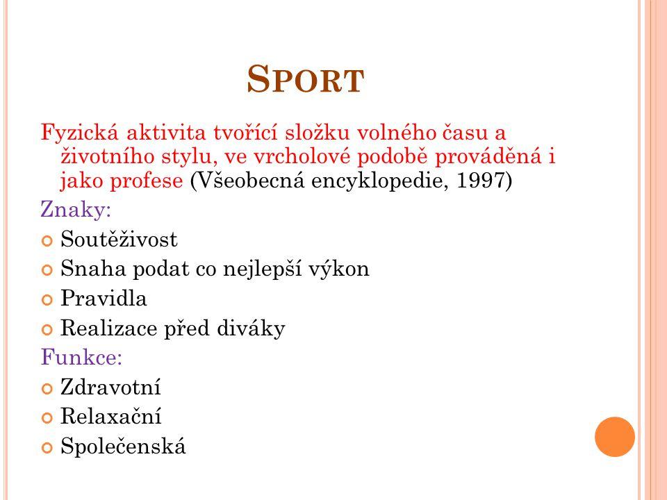 S PORT Fyzická aktivita tvořící složku volného času a životního stylu, ve vrcholové podobě prováděná i jako profese (Všeobecná encyklopedie, 1997) Zna