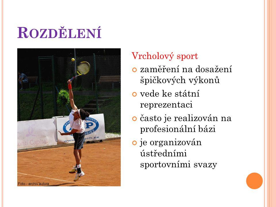 R OZDĚLENÍ Vrcholový sport zaměření na dosažení špičkových výkonů vede ke státní reprezentaci často je realizován na profesionální bázi je organizován