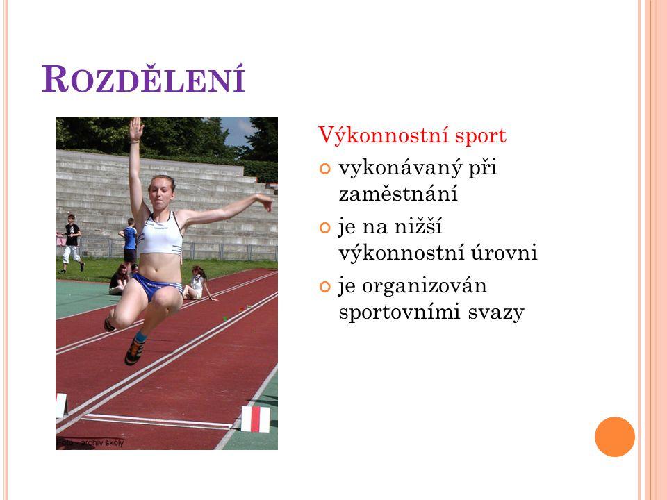 R OZDĚLENÍ Výkonnostní sport vykonávaný při zaměstnání je na nižší výkonnostní úrovni je organizován sportovními svazy