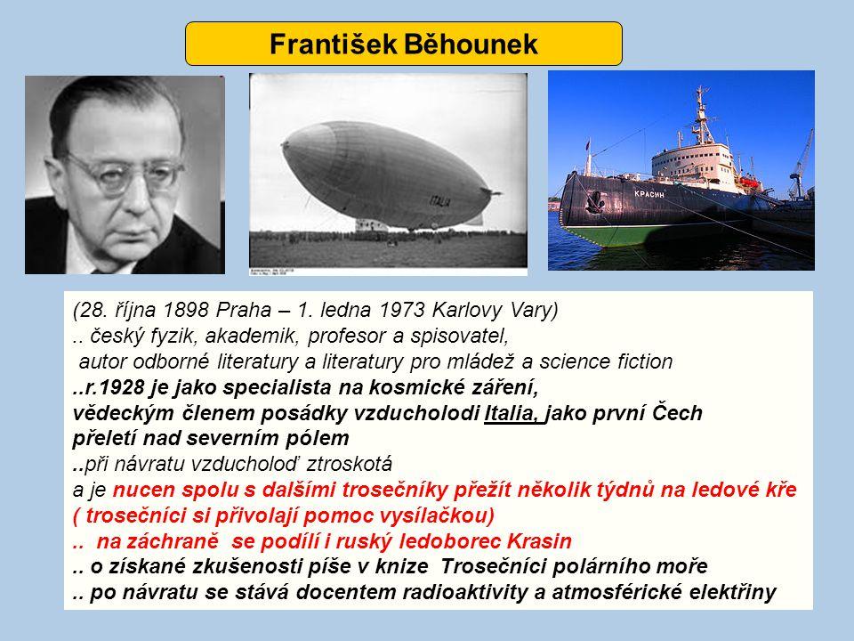 František Běhounek (28. října 1898 Praha – 1. ledna 1973 Karlovy Vary).. český fyzik, akademik, profesor a spisovatel, autor odborné literatury a lite