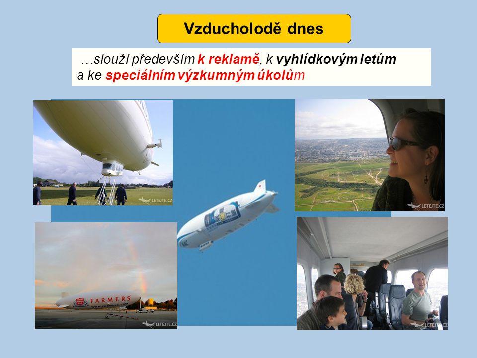 Vzducholodě dnes …slouží především k reklamě, k vyhlídkovým letům a ke speciálním výzkumným úkolům